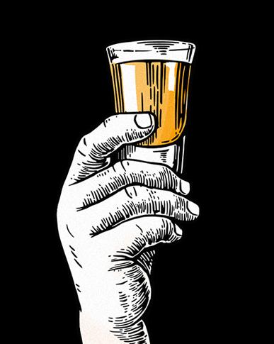 Hand holding a shot of liquor illustration