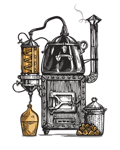 Moonshine pot illustration