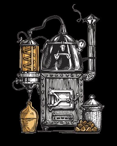 Moonshine pot illustration