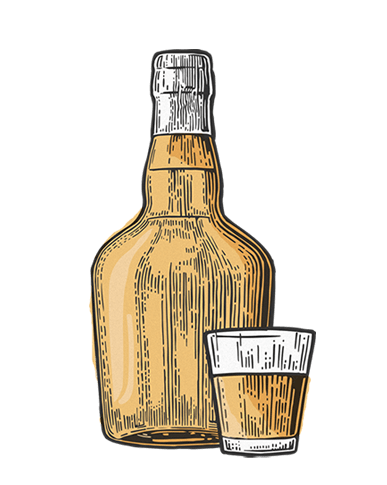 Rum bottle illustration