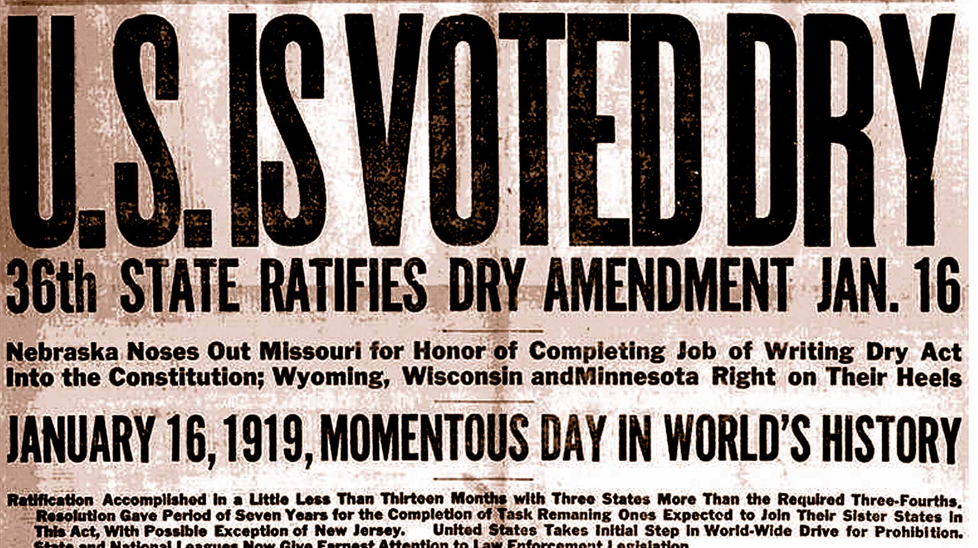 US Is Dry Prohibition Newspaper Headline