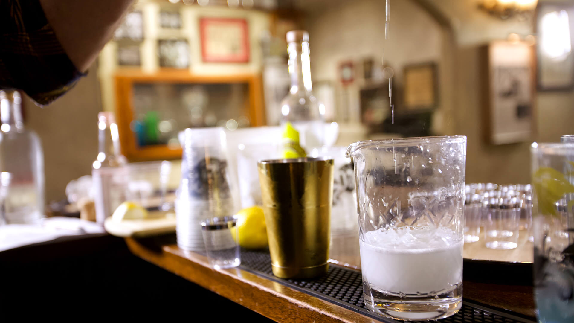 Prohibition style cocktails lined up for class to learn at Savannah Speakeasy
